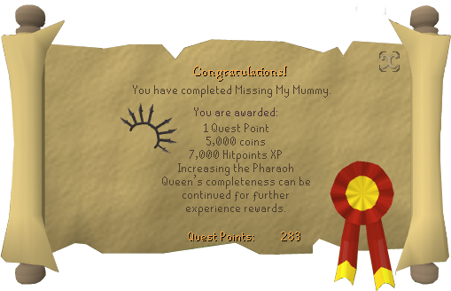 Quest completion scroll of Missing My Mummy