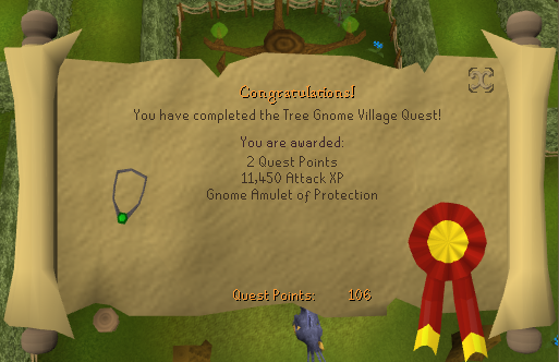Quest completion scroll of Tree Gnome Village