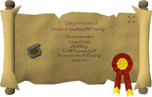 Quest completion scroll of All Fired Up