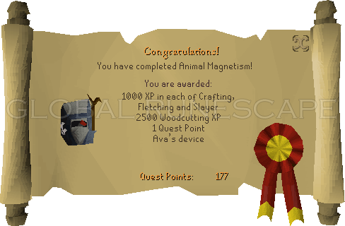 Quest completion scroll of Animal Magnetism