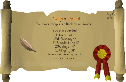Quest completion scroll of Back to my Roots