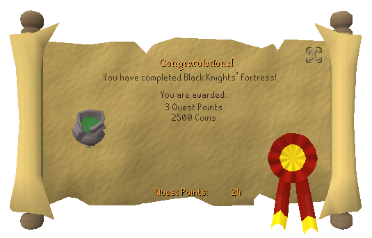 Quest completion scroll of Black Knights' Fortress