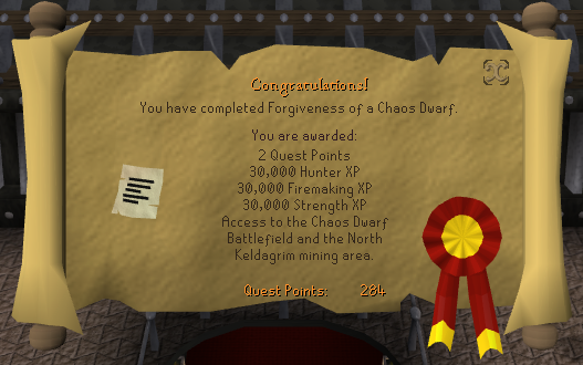 Quest completion scroll of Forgiveness of a Chaos Dwarf