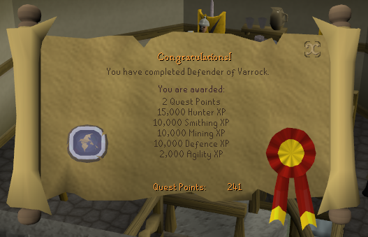 Quest completion scroll of Defender of Varrock