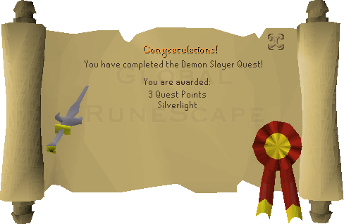 Quest completion scroll of Demon Slayer