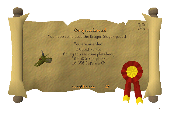 Quest completion scroll of Dragon Slayer