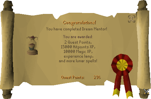 Quest completion scroll of Dream Mentor