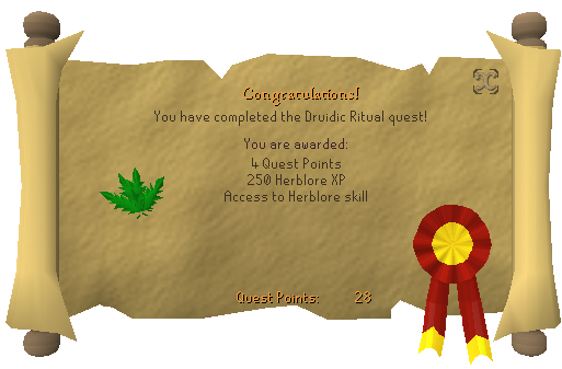 Quest completion scroll of Druidic Ritual