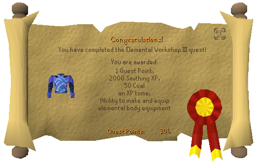 Quest completion scroll of Elemental Workshop III