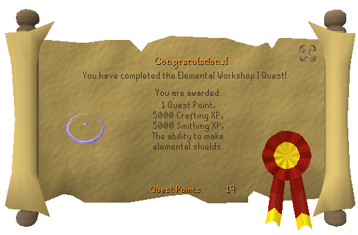Quest completion scroll of Elemental Workshop I