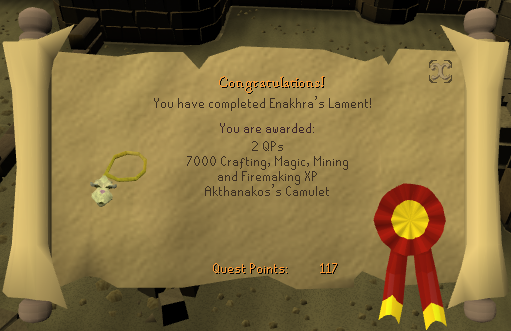 Quest completion scroll of Enakhra's Lament