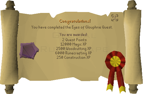 Quest completion scroll of The Eyes of Glouphrie