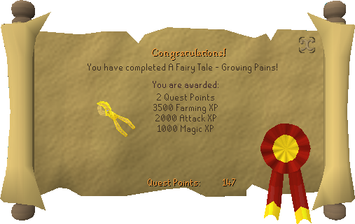 Quest completion scroll of A Fairy Tale Part I - Growing Pains