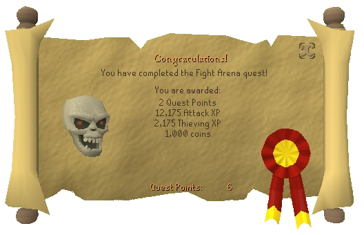 Quest completion scroll of Fight Arena
