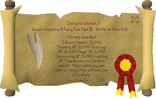 Quest completion scroll of A Fairy Tale Part III - Battle at Orks Rift