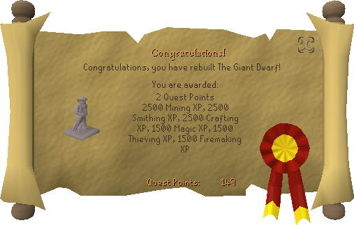 Quest completion scroll of The Giant Dwarf