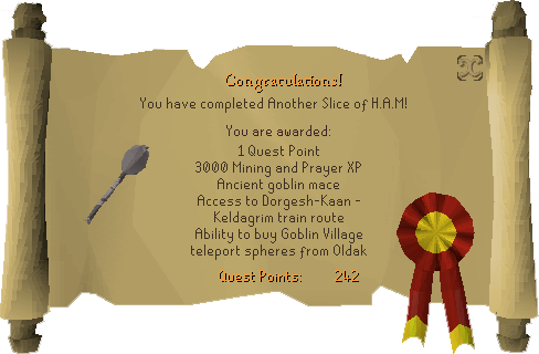 Quest completion scroll of Another Slice of H.A.M.