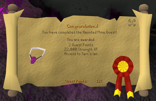 Quest completion scroll of Haunted Mine