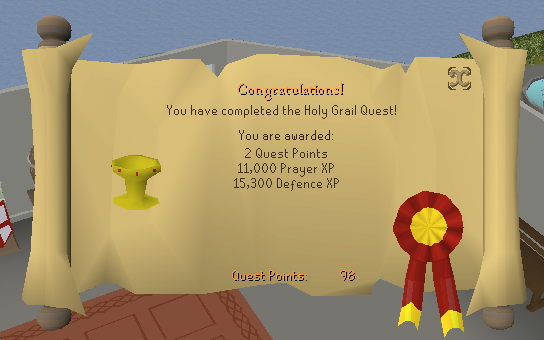 Quest completion scroll of The Holy Grail