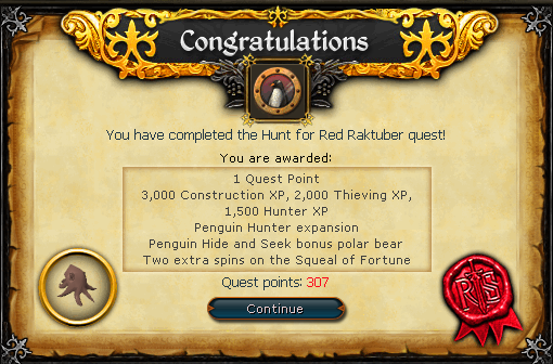 Quest completion scroll of Hunt for Red Raktuber