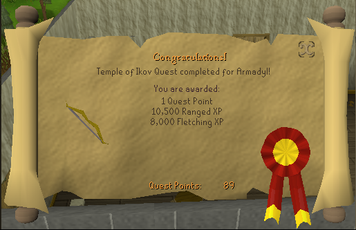 Quest completion scroll of Temple of Ikov