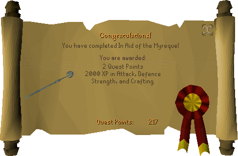 Quest completion scroll of In Aid of the Myreque