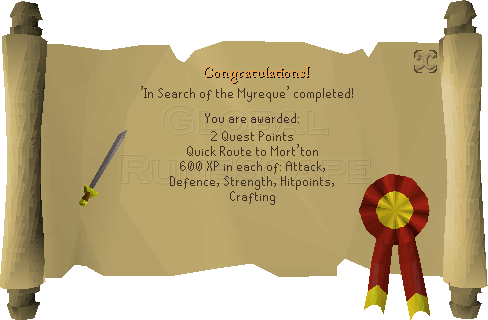 Quest completion scroll of In Search of the Myreque