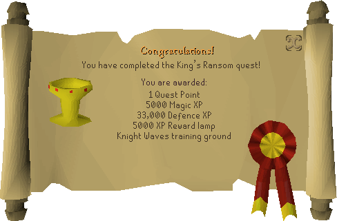 Quest completion scroll of King's Ransom