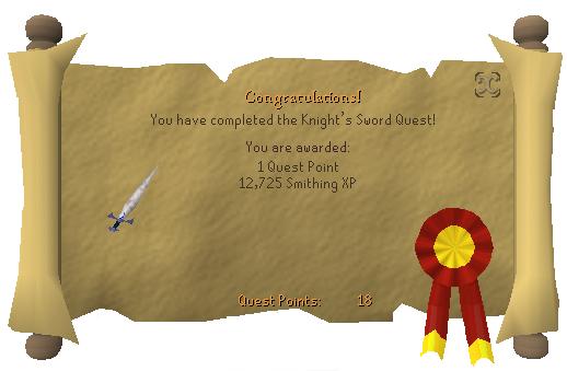 Quest completion scroll of The Knight's Sword