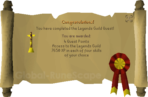 Quest completion scroll of Legends' Quest