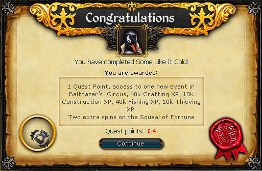 Quest completion scroll of Some Like it Cold