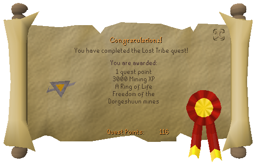 Quest completion scroll of The Lost Tribe
