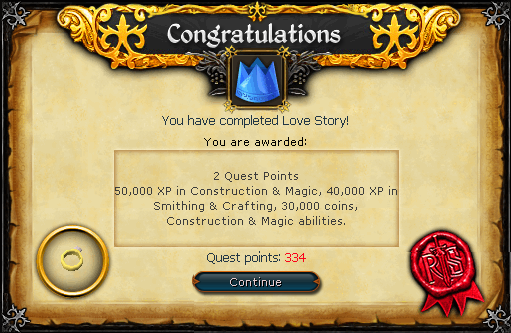 Quest completion scroll of Love Story