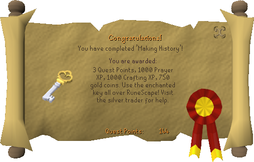 Quest completion scroll of Making History