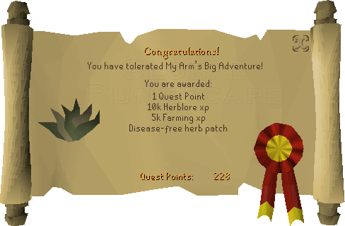 Quest completion scroll of My Arm's Big Adventure