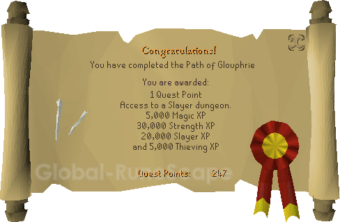 Quest completion scroll of The Path of Glouphrie