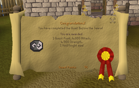 Quest completion scroll of Quiet Before the Swarm