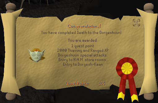 Quest completion scroll of Death to the Dorgeshuun