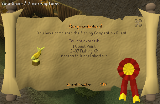 Quest completion scroll of Fishing Contest