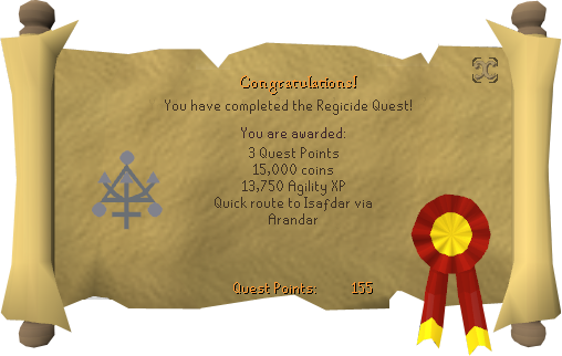 Quest completion scroll of Regicide