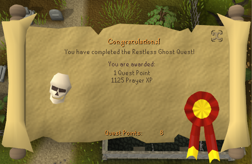 Quest completion scroll of The Restless Ghost