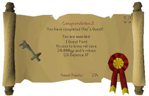 Quest completion scroll of Olaf's Quest