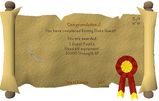 Quest completion scroll of Roving Elves