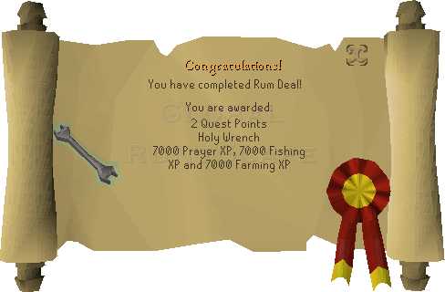Quest completion scroll of Rum Deal