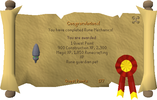 Quest completion scroll of Rune Mechanics
