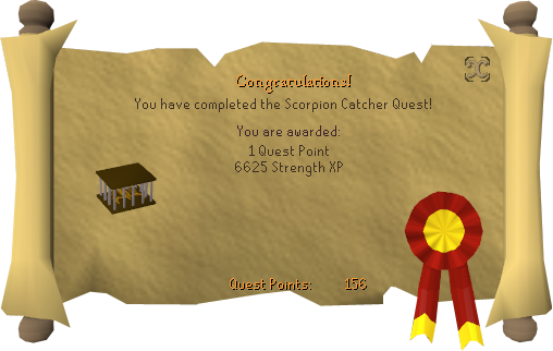 Quest completion scroll of Scorpion Catcher