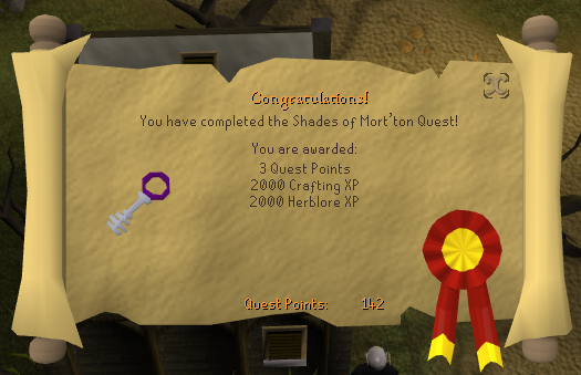 Quest completion scroll of Shades of Mort'ton