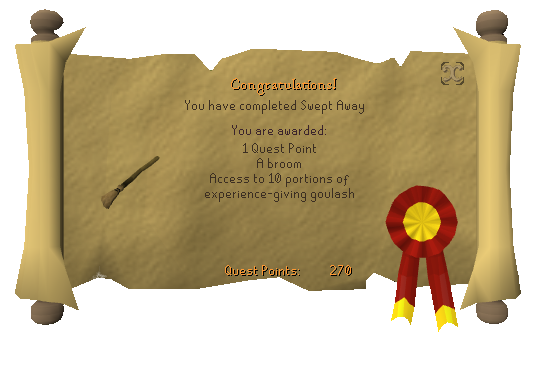Quest completion scroll of Swept Away
