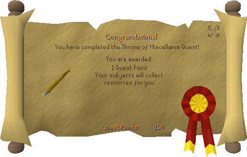 Quest completion scroll of Throne of Miscellania