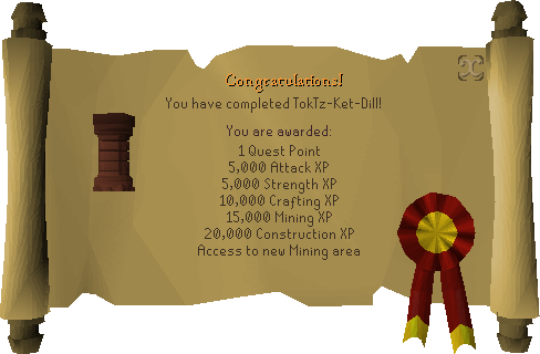 Quest completion scroll of TokTz-Ket-Dill